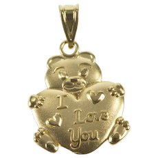 14K I Love You Teddy Bear Heart Anniversary Pendant Yellow Gold  [QRXK]