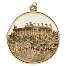 14K Ornate Enamel Epsom Downs England Horse Race Charm/Pendant Yellow Gold [CXXQ]