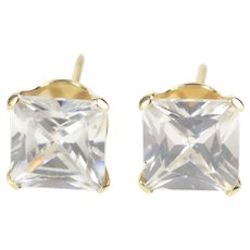 10K Princess Cut Solitaire Prong Set CZ Stud Earrings Yellow Gold  [QRXK]