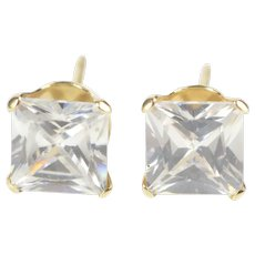 10K Princess Cut Solitaire Prong Set CZ Stud Earrings Yellow Gold [QRQX]