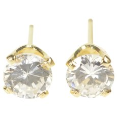 14K Round Solitaire Prong Set Classic CZ Stud Earrings Yellow Gold  [QRXK]