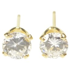 14K Round Solitaire Prong Set Classic CZ Stud Earrings Yellow Gold [QRQX]