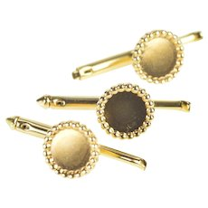 14K Round Dot Trim Classic Circle Simple Tuxedo Button Covers Yellow Gold [CXXQ]