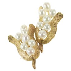 14K Retro 1960's Pearl Floral Stylized Cluster Pin/Brooch Yellow Gold [QRQX]