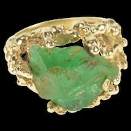 14K Massive Raw Emerald Statement Cocktail Ring Size 8.5 Yellow Gold [QRXK]