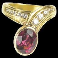 18K Pink Tourmaline Diamond Channel Designer Wrap Ring Size 6.25 Yellow Gold [QRXK]