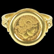 18K Alexander the Great Ancient Coin Inspired Ring Size 10 Yellow Gold [QRXK]