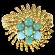 18K Round Turquoise Cluster Retro Cocktail Ring Size 6.5 Yellow Gold [QRXK]