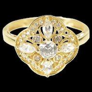 14K Ornate Encrusted Floral Milgrain Statement Ring Size 9.75 Yellow Gold [QRXK]