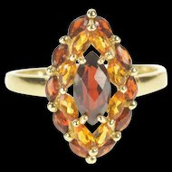 14K Marquise Garnet Citrine Halo Cocktail Statement Ring Size 10 Yellow Gold [QRXK]