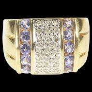14K Pave Diamond Tanzanite Squared Statement Ring Size 6.5 Yellow Gold [QRXK]