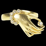 18K Diamond Ornate Hand Oracle Unique Statement Ring Size 5.5 Yellow Gold [QRXK]