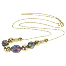 "14K Pearl Blue Cloisonne Enamel Beaded Chain Necklace 18"" Yellow Gold  [QRXS]"