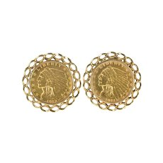 14K 1912 Indian Head $2.50 Coin Chain Trim Cuff Links Yellow Gold [QRQQ]