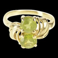 14K Swirl Wave Design Sim. Peridot Inset Bypass Ring Size 5.5 Yellow Gold [QRQQ]