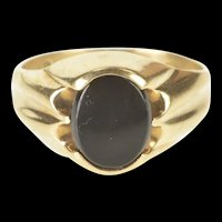10K Oval Black Onyx Grooved Retro Statement Ring Size 7 Yellow Gold [QRQQ]