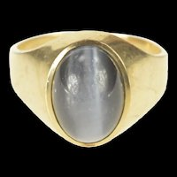 10K Retro Men's Sim. Grey Cat's Eye Cabochon Ring Size 10.25 Yellow Gold [QRQQ]
