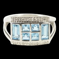 10K Princess Emerald Cut Blue Topaz Diamond Accent Ring Size 8 White Gold [QRQQ]