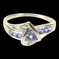 10K Trillion Tanzanite Diamond Accent Bypass Ring Size 6 White Gold [QRQQ]