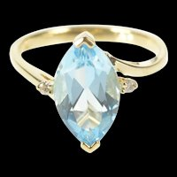 10K Marquise Blue Topaz Diamond Accent Cocktail Ring Size 7.25 Yellow Gold [QRQQ]