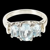 10K Three Stone Oval Blue Topaz Diamond Accent Ring Size 7 White Gold [QRQQ]