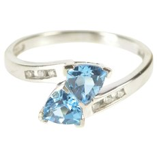 10K Two Trillion Blue Topaz Diamond Accent Bypass Ring Size 7 White Gold [QRQQ]