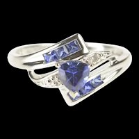 10K Trillion Tanzanite Accent Diamond Bypass Ring Size 6.75 White Gold [QRQQ]