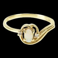 10K Oval Opal Diamond Accent Bypass Swirl Ring Size 5.75 Yellow Gold [QRQQ]
