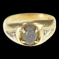 14K Raw Grey Stone Cabochon Diamond Accent Ring Size 8.75 Yellow Gold [QRQQ]