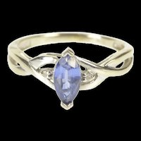 10K Marquise Tanzanite Diamond Accent Engagement Ring Size 5.5 White Gold [QRQQ]