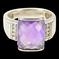 14K Faceted Amethyst Diamond Accent Cocktail Ring Size 6 White Gold [QRQQ]