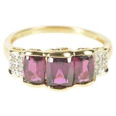 14K Pink Tourmaline Diamond Accent Swirl Bridge Ring Size 7 Yellow Gold [QRQQ]