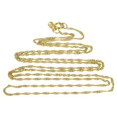 """18K 1.2mm Twist Link Rolling Curb Chain Necklace 22"""" Yellow Gold  [QRXS]"""
