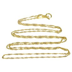 """18K 1.1mm Rolling Curb Chain Link Twist Spiral Necklace 22"""" Yellow Gold  [QRXS]"""