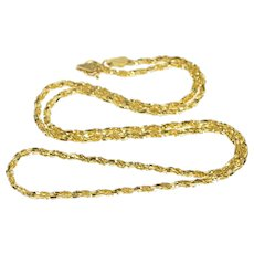 """14K 1.8mm Twist Spiral Textured Rope Chain Necklace 17.75"""" Yellow Gold  [QRXS]"""