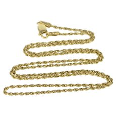 """14K 1.4mm Rope Chain Classic Twist Necklace 20"""" Yellow Gold  [QRXS]"""