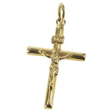 14K Classic Cross Crucifix Christian Faith Pendant Yellow Gold [QRQQ]