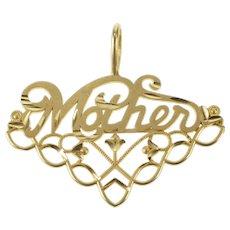14K Mother Cursive Mom Vine Floral Filigree Pendant Yellow Gold [QRXS]