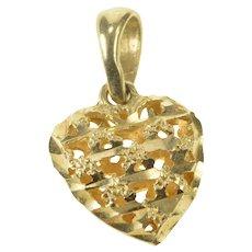 14K Rough Lattice Puffy Heart Love Romantic Charm/Pendant Yellow Gold [QRQQ]