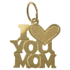 14K I Love You Mom Heart Mother Word Charm/Pendant Yellow Gold [QRXS]