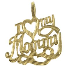 14K I Love My Mommy Heart Mom Love Message Charm/Pendant Yellow Gold [QRXS]