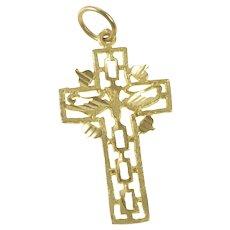 14K Dove Christian Faith Cross Symbol Holy Spirit Charm/Pendant Yellow Gold [QRQQ]
