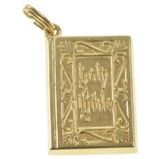 14K Holy Bible Christian Religious Book Text Charm/Pendant Yellow Gold [QRQQ]