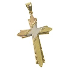 14K Tri Tone Satin Finish Striped Cross Christian Faith Pendant Yellow Gold [QRQQ]