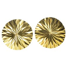 18K Burst Sunflower Pattern Round Retro Fashion Earrings Yellow Gold [QRQQ]