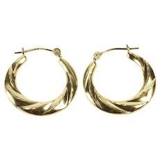 14K Puffy Twist Design Fashion Hoop Earrings Yellow Gold [QRQQ]