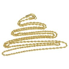 """14K 1.8mm Rope Twist Spiral Link Chain Necklace 24.25"""" Yellow Gold [QRXS]"""