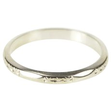 18K 3.0mm Floral Blossom Wedding Band Ring Size 5.5 White Gold [QRQQ]