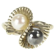 14K Two Tone Pearl Retro Swirl Cocktail Statement Ring Size 6.5 White Gold [QRQQ]