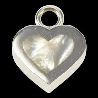 14K Squared Heart Mother of Pearl Inset Love Pendant White Gold [QRXS]